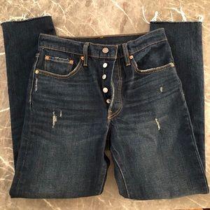 Levi's 501 Raw Hem Distressed Dark Wash Jeans
